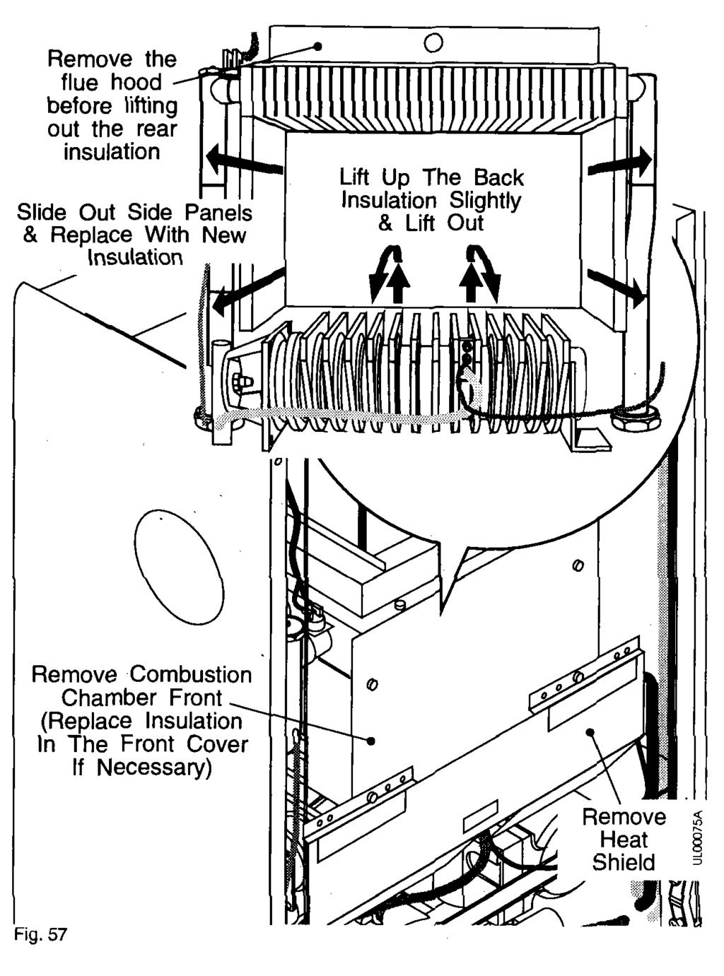 Replacement of Parts - Page 48 6.18 Combustion Chamber Insulation Panels 1. Gain General Access - See Section 6.1 complete. 2. Remove the fan/diverter assembly - see Section 6.17. 3.