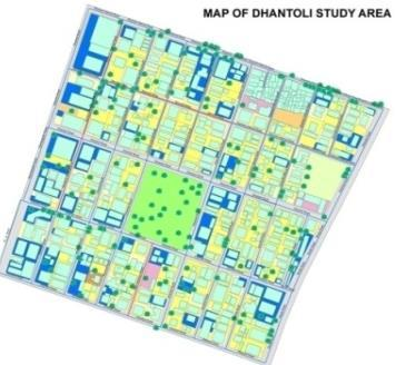 Land use land cover classification was based on built-up area, building density, and green & open area coverage.