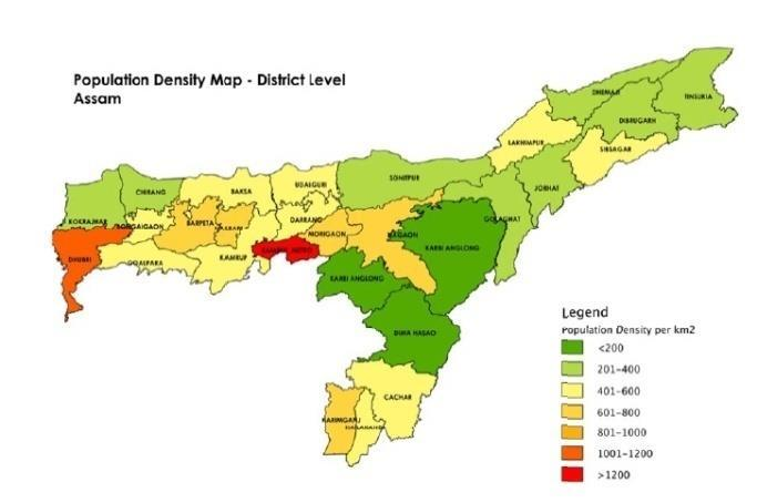 128 DISASTER RESILIENT HOUSING OF ASSAM: A CASE STUDY Figure 2 Map Showing Population Density of the 27 districts of Assam (Source: Assam State Disaster Management Authority) 5.