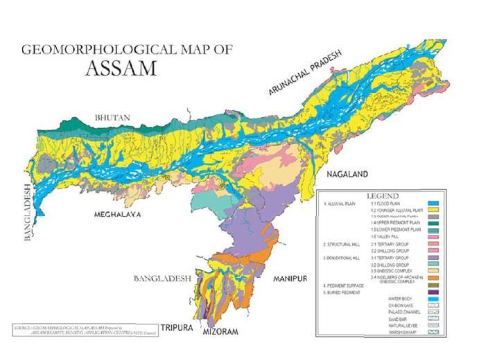 130 DISASTER RESILIENT HOUSING OF ASSAM: A CASE STUDY Figure 4 Map of Assam showing Geomorphological condition (Source: Assam State Disaster Management Authority) 8.