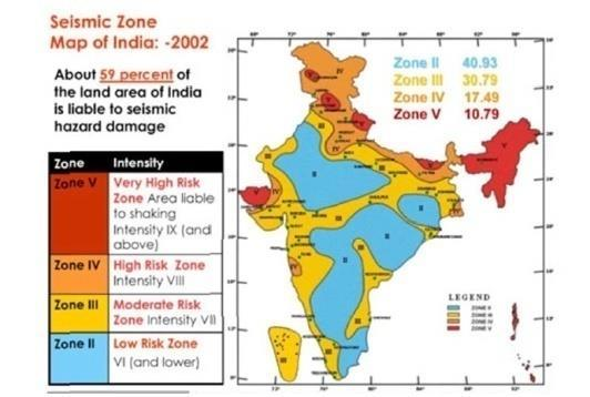 KANKANA N. DEV, NANDINENI RAMADEVI & NISHANT H MANAPURE 131 Zone 5 as in the map Fig.5, the most vulnerable Seismic Zone.