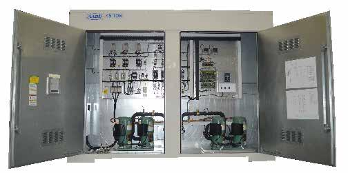 AAON LZ, LN, & LC Series Chillers & Outdoor Mechanical Rooms Labeled Electrical Components ~ Compressor and Control Service Compartment Variable Capacity Scroll Compressors LN Series units are