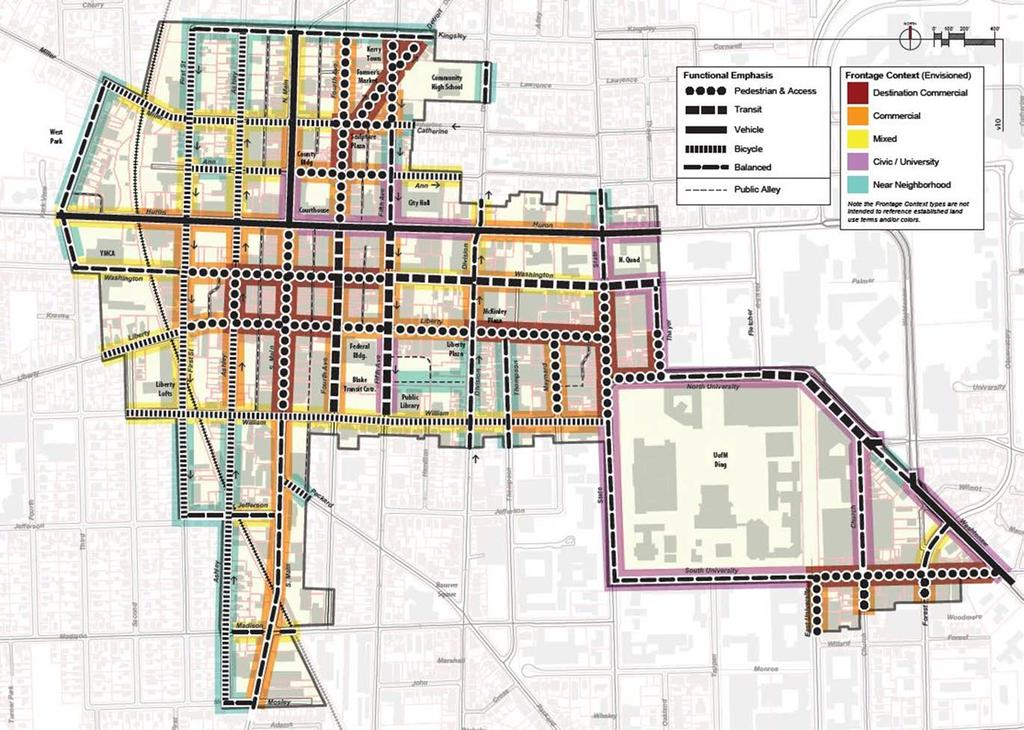 The Street Typology Framework map shows the frontage context and transportation