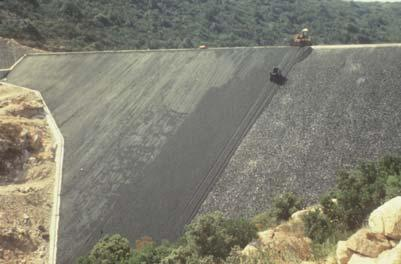 The geomembrane was uplifted by the wind with no damage but the