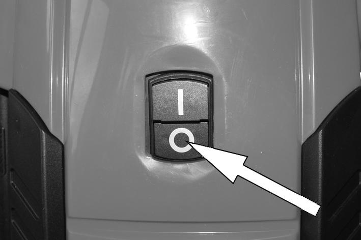 "SHUTTING DOWN When you have finished using the pressure washer, follow the procedure shown below to switch off and disconnect the unit. 1. Press the section of the On/Off switch marked ""O"". 2."