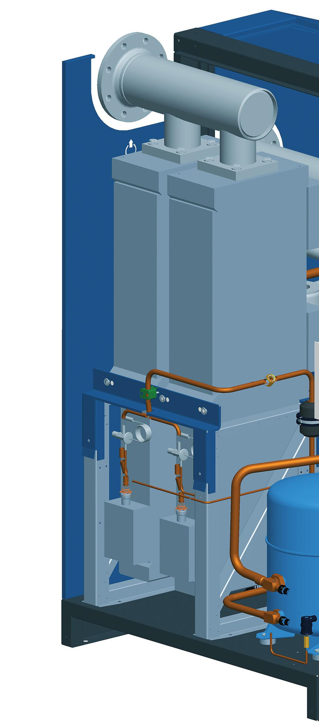 The intelligent Refrigeration Compressed Aluminium Heat Exchanger Generously proportioned high performance air/air and refrigerant/air heat exchangers Integrated condensate separation system