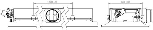 The chilled beam can be attached directly to the ceiling surface (H1 = 230 mm) or suspended using threaded drop rods (8 mm).