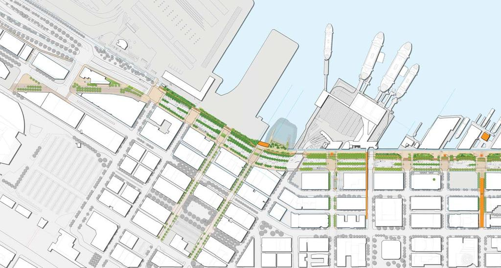 THE CORE PROJECT Railroad Way Century Link Field King Street Station Port of Occidental Park Pier 48 Washington St. Boat Landing Seawall Beach Transit Hub Columbia St.