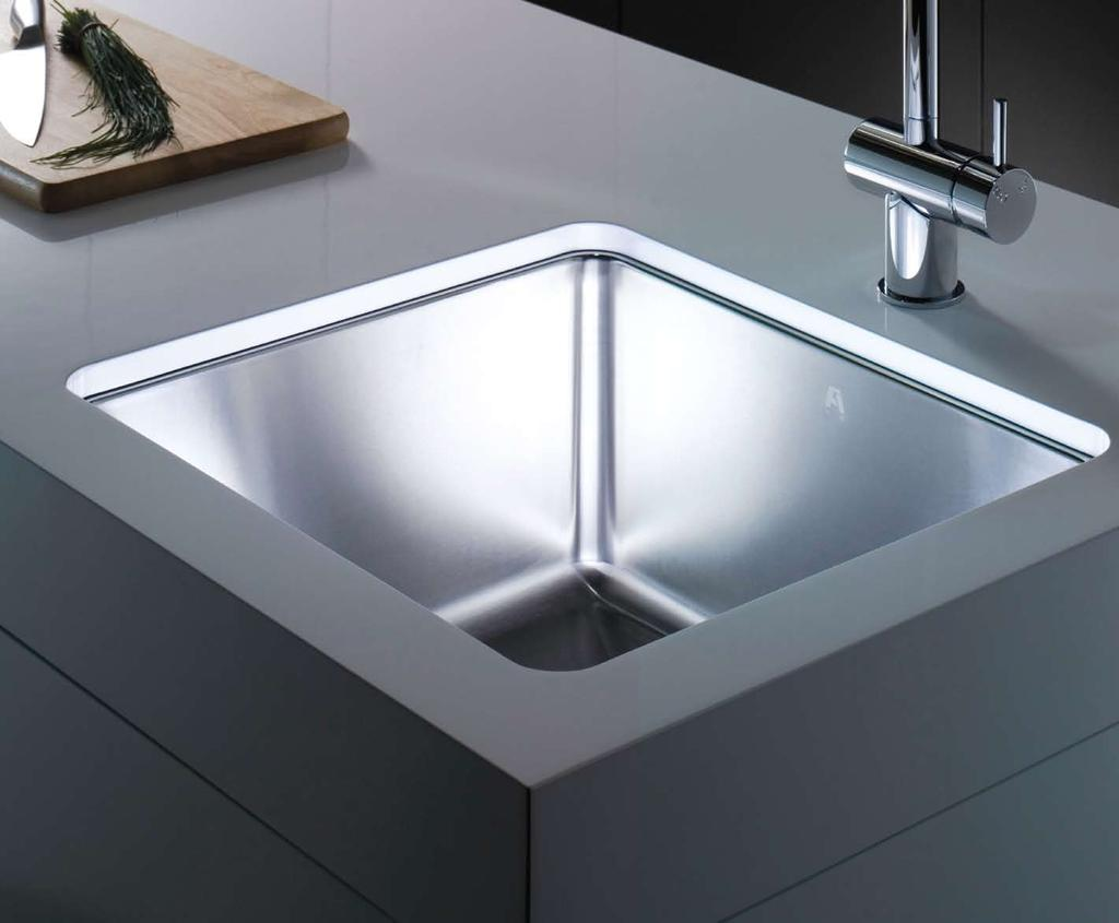 The Mizu stainless steel sink integrates beautifully within any