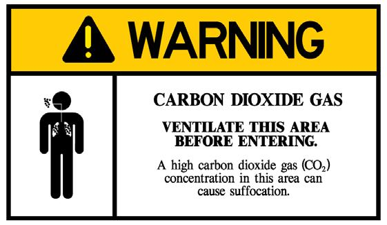 WARNING CARBON DIOXIDE GAS. Ventilate the area before entering. A high carbon dioxide (CO 2 ) gas concentration in this area can cause suffocation. Figure S3.