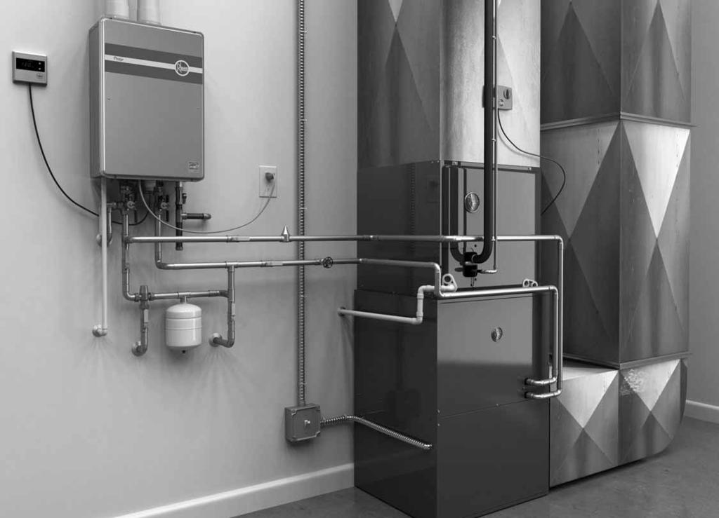 System Components Home Heating & Water Heating Powered by Tankless Technology 1 3 2 Hydronic Air Handler Inside View System Components 1 Tankless Water Heater The Rheem tankless water heater serves