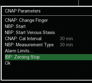 ZEROING OF CNAP AND PATIENT MONITOR 1 Go to parameter frame on CNAP