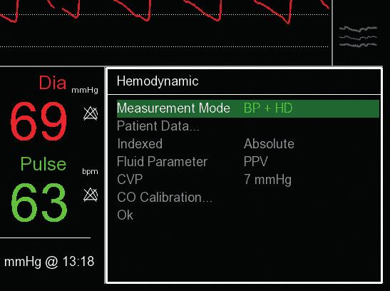 3. ENABLING HEMODYNAMIC PARAMETERS FOR A MEASUREMENT 1 If HD is not enabled, hemodynamic frame shows question marks: select with click-wheel -