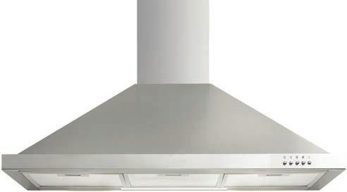 RANGEHOODS RFT9 90cm Deluxe Flat Canopy IRI6SE1 60cm Integrated Rangehood Stainless steel and black glass 950m 3 /hr extraction capacity Ducted operation Re-circulating operation optional Touch