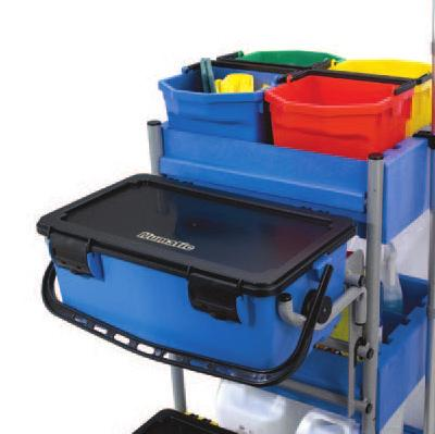 accommodates charging buckets for mops and cloths Structural foam construction ensures maximum durability Easy-glide locking drawers and optional locking top cabinet The