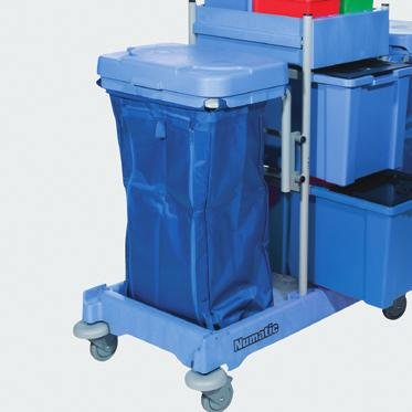 out for a second 30 gallon waste bag Optional Mopmatic system for effective pre-charging of mops ONE CART SYSTEM Dimensions (LxWxH): 47 x 23 x 42 NPT 1606 Comes standard