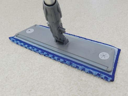 This dual fibre microfibre mop scrubs the floor first and then cleans it leaving micro droplets of
