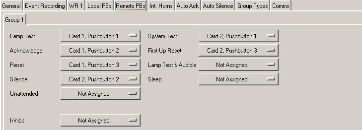 Remote Pushbuttons Tab Default Settings