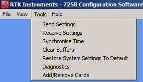 Tools Menu The following options are available under the Tools menu Send Settings Selecting the Send Settings menu allows the user