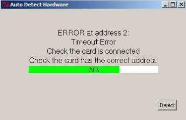 In this example the card set to address 2 has not been successfully detected and the auto detect halts until the user resolves the issue If a 725B System is connected to the associated PC and