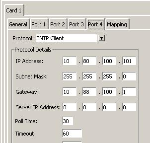SNTP client Server IP address:- The IP address of the SNTP Server that will provide the time to the Annunciator. This is in the format xx.