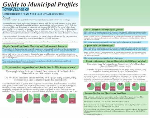 UNDERSTANDING THE HANDBOOK MUNICIPAL PROFILES Sections Your Municipality s Comprehensive Plan Goals Gaps in current law Broken down into categories Resident Support Survey Results