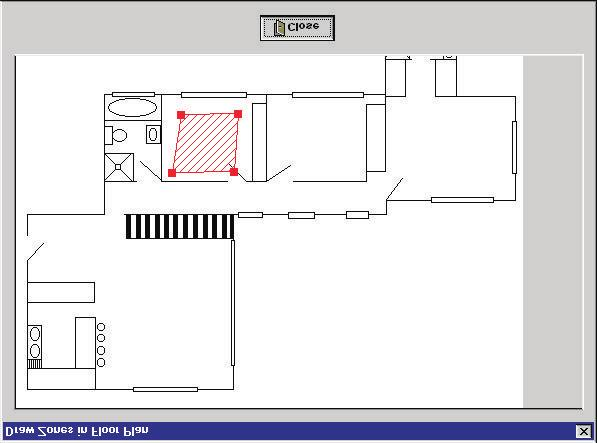 Modify: To draw the zones on the bitmap click on the DRAW icon: The Draw Zones in Floor Plan screen will appear (Figure 9) Hold in the Crl key and click on the area that you wish to mark the zone To
