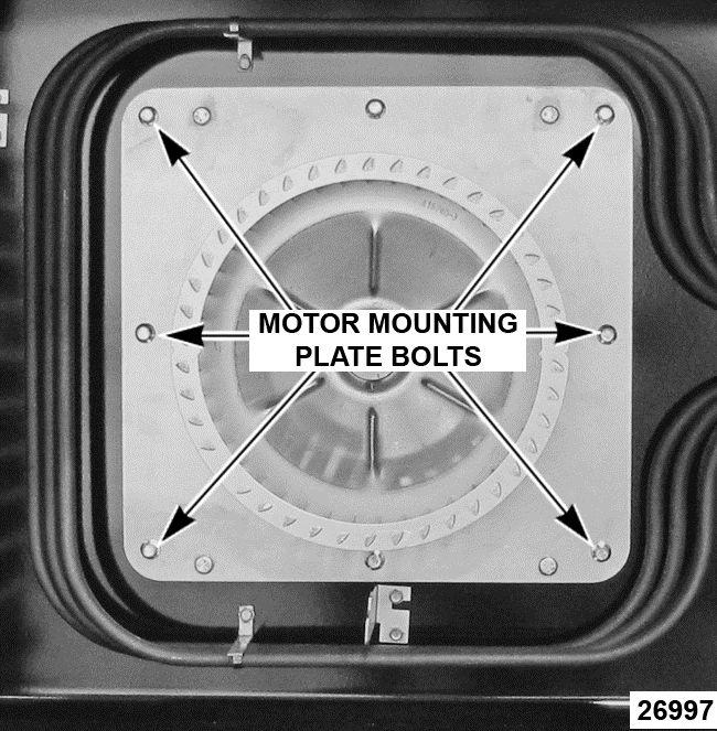 Remove bolts that secure the motor mounting plate to the rear wall. Heating Element 7. Reverse the procedure to install the replacement heating element. Fig. 14 5.