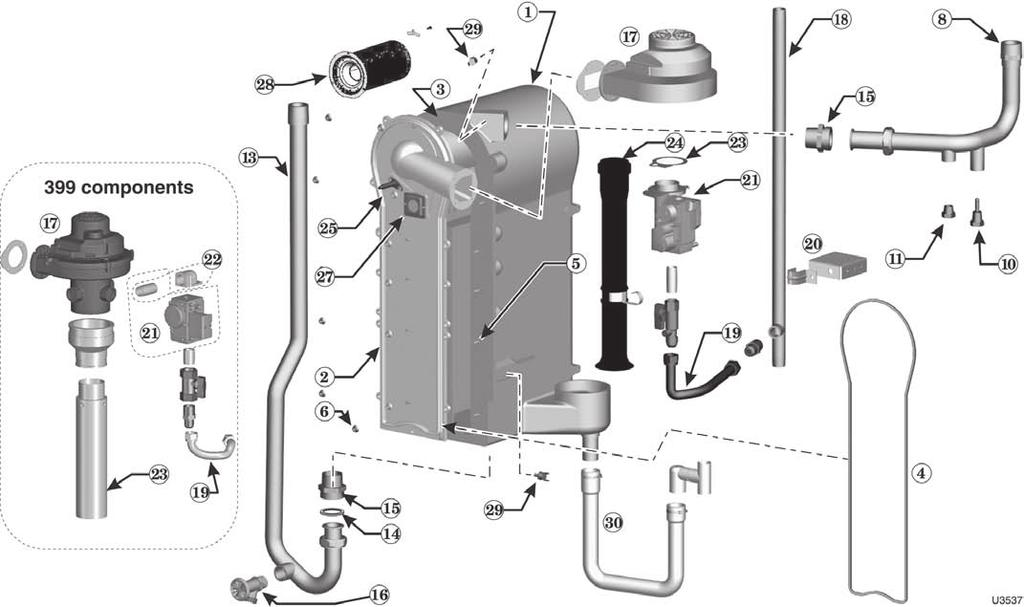 gas-fired water boiler Manual Figure 123 Heat exchanger and piping Ultra-299 & -399 models number 1 Heat exchanger replacement kit - Heat 299/399 383-500-623 exchanger, cover plate, burner,