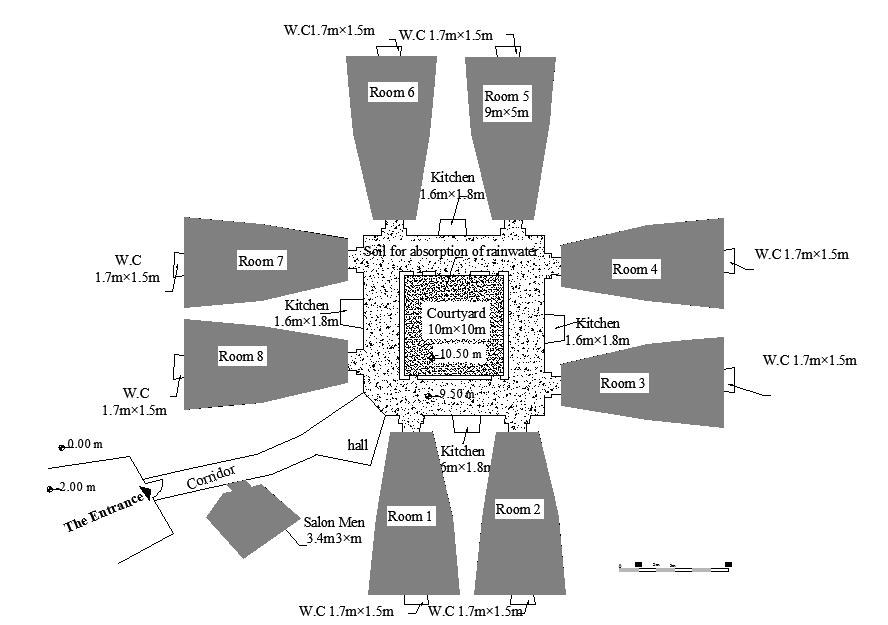 Figure 8.31: Plan of Omar Belhaj house in Gharyan. Figure 8.32: The lack of a roof over the courtyard. Figure 8.33: Space for storing grains and food is located above the rooms.