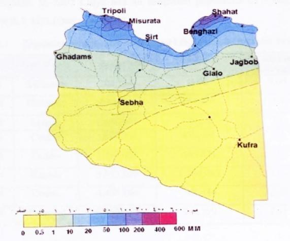 B) The mean annual rainfall. Figure 5.7: The mean relative humidity (A) and the annual rainfall (B). 5.4. Population Libya is a small country in terms of population.