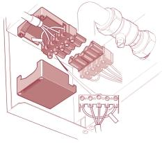 b) Fit external wall sealing ring over flue and then from outside the building, push the flue system through the wall taking care to ensure that the terminal is the correct way around.