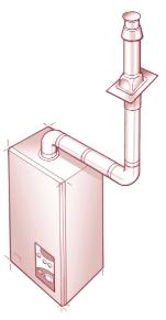 INSTALLATION USING 45 ELBOWS VERTICAL COWL 2(e) HORIZONTAL FLUE WITH 90 BEND