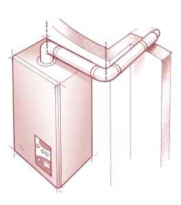 4 SPECIFICATION FOR FLUE SYSTEMS WITH AN EXTRA 90 ELBOW a b Fig 4 - Use of the flanged elbow, extension(s), 90 extension elbow, and standard flue assembly.