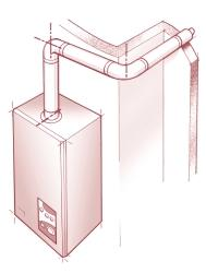 b measured from the centre line of the extension elbow to the outside wall face. Maximum allowable flue length of a + b = Ace 4000mm, Ace High 2000mm. a Fig 6 - As fig.