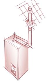 d) The flue system must use either a flanged elbow or a vertical flue turret socket at the entry/exit to the appliance.