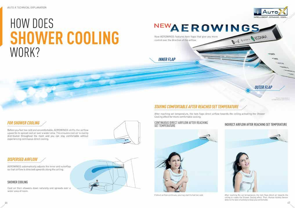 WITHOUT AEROWINGS With direct airflow, the target never changes, so you can easily begin to feel too cold as you are subjected to the continuous icy blast.