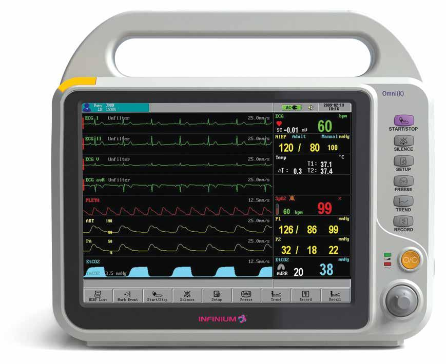 user. The Omni (K) is preconfigured with non-invasive blood pressure, 3/5 ECG with arrhythmia detection, impedance respiration, SpO2, and