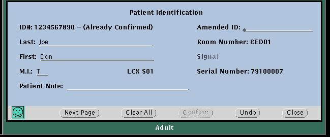 40 Chapter 3 Admit and begin monitoring Welch Allyn Acuity Central Monitoring System Enter and confirm a patient s ID or room at the central station A patient s Acuity System window borders and icons