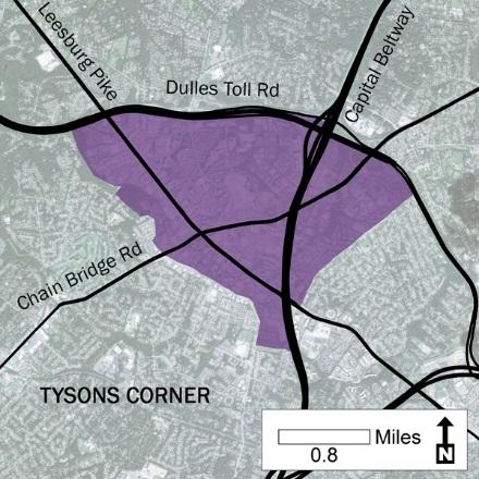 14 Urban Development Areas Fairfax County UDA Needs Profile: Tysons Corner Tysons Corner is located in Fairfax County, surrounded by the town of McLean to the east and Vienna on the west along I-495,