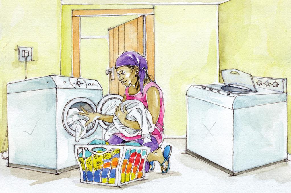 6 Laundering Use cold or lukewarm water for washing clothes. Front loading washing machines use less energy than top loading models.