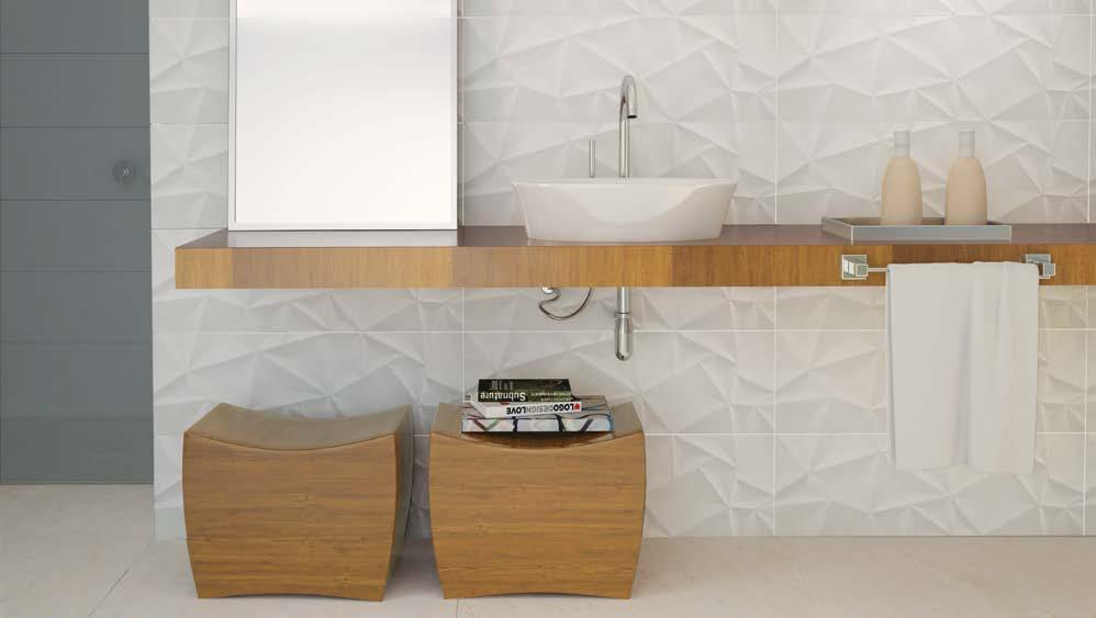 PRISMA Wall tile Pared Reliefs in the classic white color that provide beautiful effects when in contrast with lights and shadows.