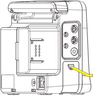 When the cpm 8 patient monitor is operating on battery power, make sure the monitor is powered off before replacing a battery. To install or replace a battery: 1. Open the battery door.