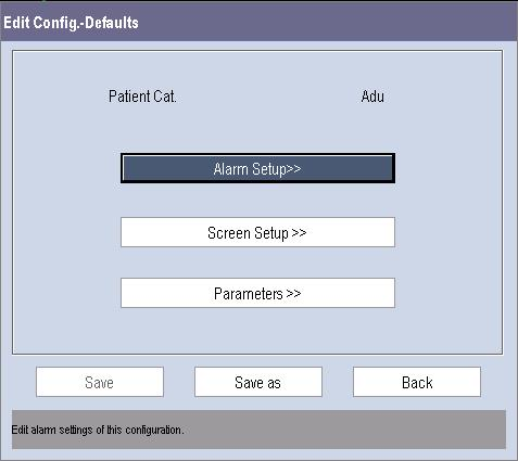 Select the desired configuration and then select the [Edit] button. The following menu appears. 3.