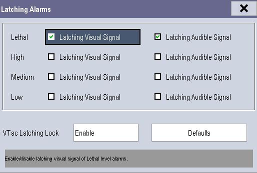 7.9 Latching Alarms The latching setting for physiological alarms defines how alarm indicators behave if you do not reset the alarms.