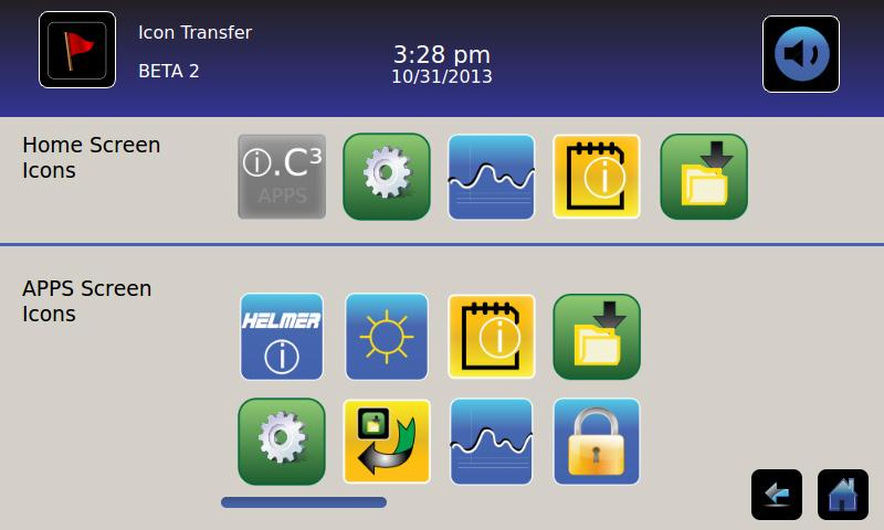 Chapter 5: Icon Transfer Chapter 5: Icon Transfer > From this screen, icons can be moved between the Home screen and i.c³ Applications screen, or repositioned on the i.c³ APPS screen.
