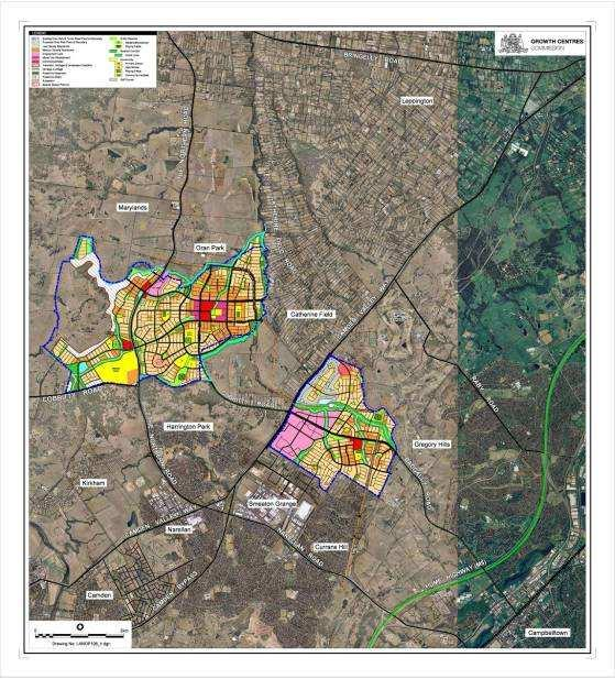 First Releases: Rezoned South West Growth Centre: First stages: 11,500 homes Oran Park 7,500 homes 18 ha employment lands (4120