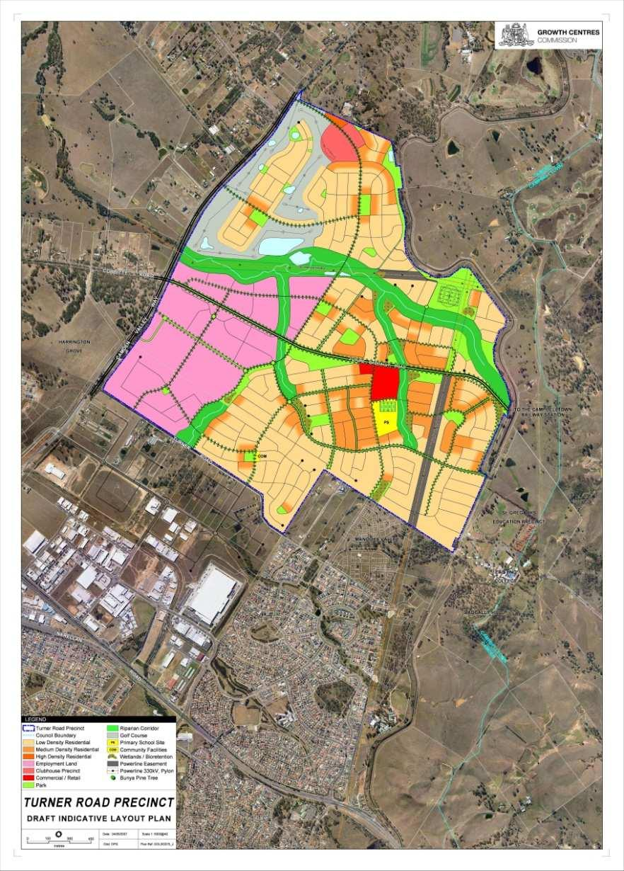 Turner Road 4020 homes 96 ha employment lands (5,000 jobs)