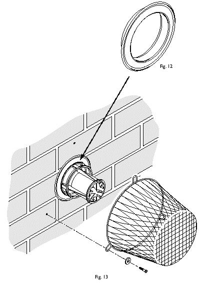 Fig. 11 3. Locate the trim over the flue terminal and push it back to the wall to compress the seal (Fig. 12). 7.11 Terminal Guard (Fig. 13) 1.