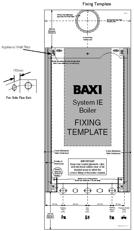 Fig. 14 2. Mark the position of the two most suitable fixing slots for the wall plate and boiler lower fixing holes. It is preferable to use the horizontal fixing slots. 3.